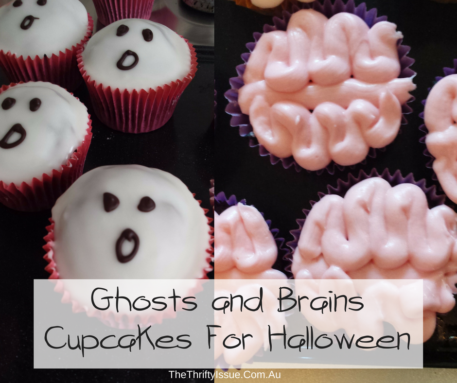 Ghosts and brains cupcakes for Halloween